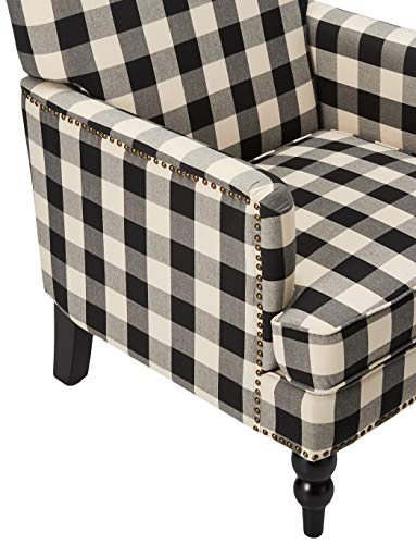 Christopher Knight Home Evete Tufted Fabric Club Chair Black Checkerboard 0 2