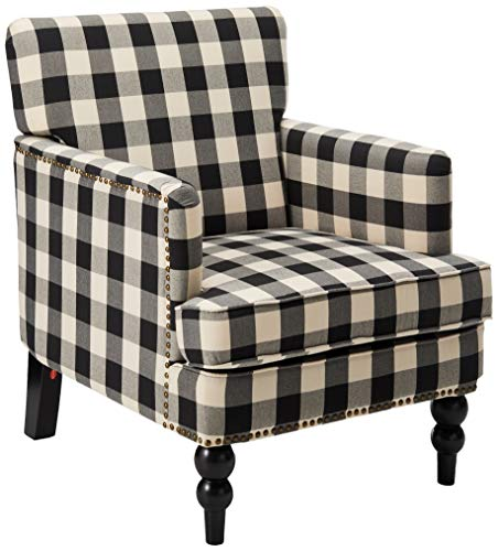 Christopher Knight Home Evete Tufted Fabric Club Chair Black Checkerboard 0