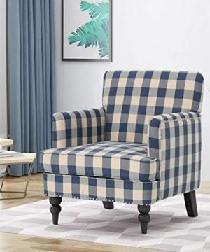 Christopher Knight Home Evete Tufted Fabric Club Chair Blue Checkerboard Dark Brown 0 300x360