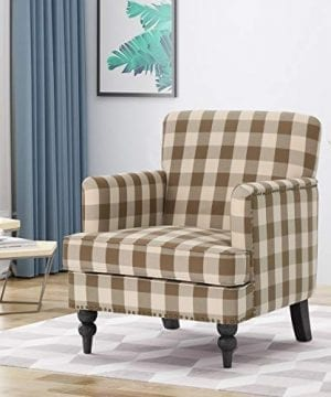 Christopher Knight Home Evete Tufted Fabric Club Chair Brown Checkerboard Dark Brown 0 300x360