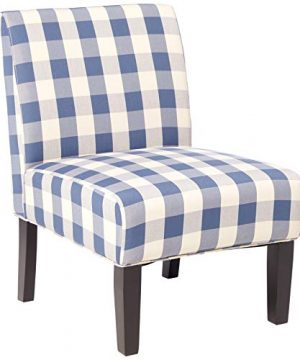 Christopher Knight Home Kendal Accent Chair Upholstered Farmhouse Style Blue Checkerboard Matte Black Rubberwood Legs 0 300x360