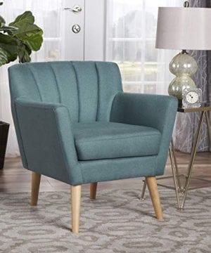 Christopher Knight Home Merel Mid Century Modern Fabric Club Chair Dark TealNatural 0 0 300x360
