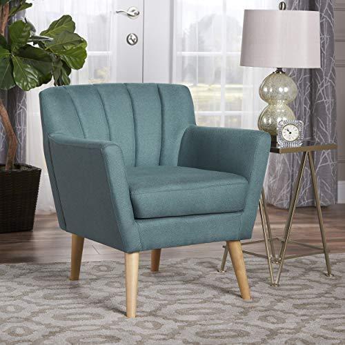 Christopher Knight Home Merel Mid Century Modern Fabric Club Chair Dark TealNatural 0 0