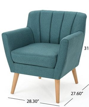 Christopher Knight Home Merel Mid Century Modern Fabric Club Chair Dark TealNatural 0 1 300x360
