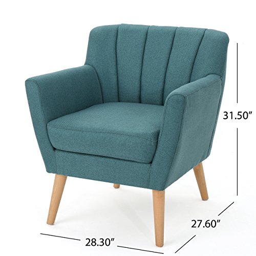 Christopher Knight Home Merel Mid Century Modern Fabric Club Chair Dark TealNatural 0 1