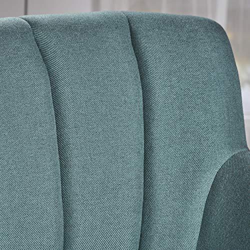 Christopher Knight Home Merel Mid Century Modern Fabric Club Chair Dark TealNatural 0 2