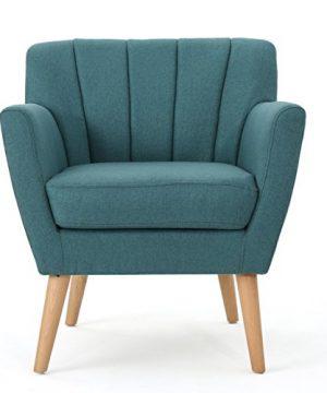 Christopher Knight Home Merel Mid Century Modern Fabric Club Chair Dark TealNatural 0 300x360