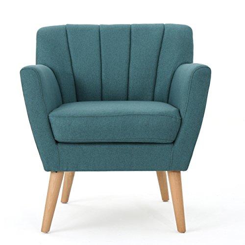 Christopher Knight Home Merel Mid Century Modern Fabric Club Chair Dark TealNatural 0
