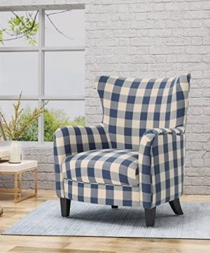 Christopher Knight Home Oliver Farmhouse Armchair Checkerboard Blue Floral 0 0 300x360