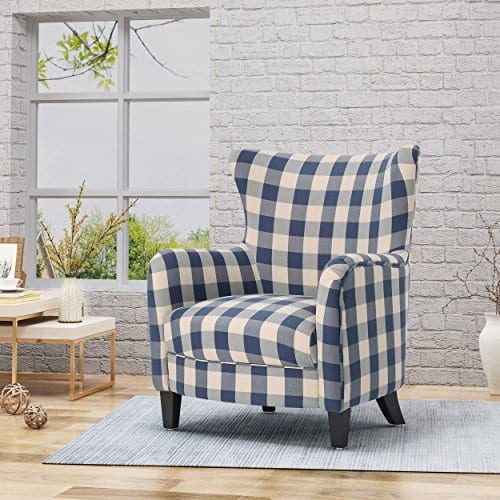 Christopher Knight Home Oliver Farmhouse Armchair Checkerboard Blue Floral 0 0