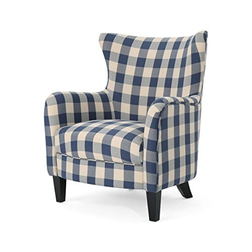 Christopher Knight Home Oliver Farmhouse Armchair Checkerboard Blue Floral 0