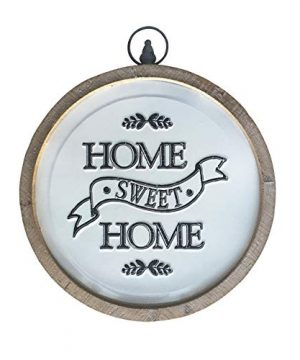 Circular Home Sweet Home Sign Rustic Farmhouse Wood And Metal Round Home Decor Wall Art 14 Inches 0 300x360