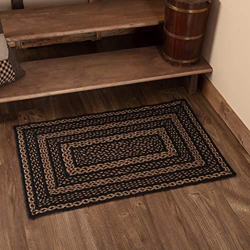 Classic Country Primitive Flooring Farmhouse Jute Black Rug 2 X 3 0