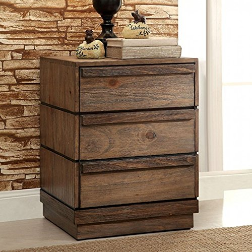 Coimbra Collection Modern Low Profile Bedframe Queen Size Bed Dresser Mirror Nightstand 4pc Set Bedroom Furniture Rustic Natural Tone Finish Solid Wood 0 2