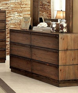 Coimbra Collection Modern Low Profile Bedframe Queen Size Bed Dresser Mirror Nightstand 4pc Set Bedroom Furniture Rustic Natural Tone Finish Solid Wood 0 3 300x360