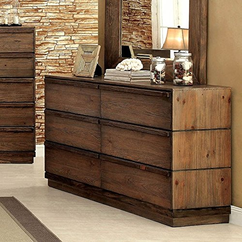 Coimbra Collection Modern Low Profile Bedframe Queen Size Bed Dresser Mirror Nightstand 4pc Set Bedroom Furniture Rustic Natural Tone Finish Solid Wood 0 3