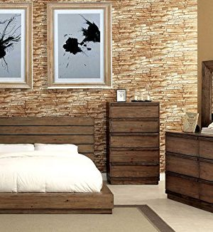 Coimbra Collection Modern Low Profile Bedframe Queen Size Bed Dresser Mirror Nightstand 4pc Set Bedroom Furniture Rustic Natural Tone Finish Solid Wood 0 300x326
