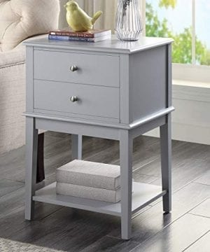 Coniffer Grey Nightstand Modern End Table Night Stand With Drawer And Storage Shelf Wood Side Table Grey 0 300x360