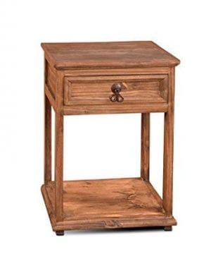 Crafters And Weavers Montclare Rustic Style Solid Wood 1 Drawer Nightstand With Bottom Wooden Shelf 0 300x360
