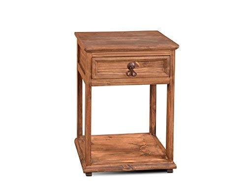 Crafters And Weavers Montclare Rustic Style Solid Wood 1 Drawer Nightstand With Bottom Wooden Shelf 0