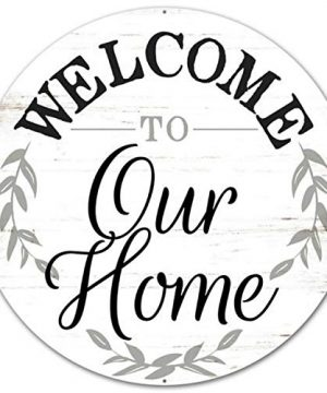 Craig Bachman 12 Round Metal Sign Welcome To Our Home Metal Wreath Accent Sign MD0462 0 300x360