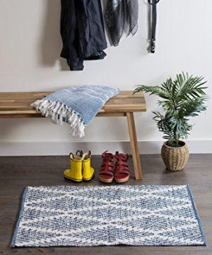 DII CAMZ10422 Indoor Flatweave Cotton Handloomed Yarn Dyed Woven Reversible Area Rug For Bedroom Living Room Kitchen 2x3 Diamond Navy Blue 0 2 300x360