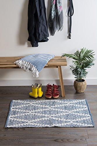DII CAMZ10422 Indoor Flatweave Cotton Handloomed Yarn Dyed Woven Reversible Area Rug For Bedroom Living Room Kitchen 2x3 Diamond Navy Blue 0 2