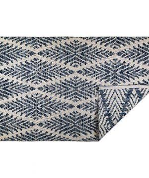 DII CAMZ10422 Indoor Flatweave Cotton Handloomed Yarn Dyed Woven Reversible Area Rug For Bedroom Living Room Kitchen 2x3 Diamond Navy Blue 0 300x360