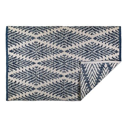 DII CAMZ10422 Indoor Flatweave Cotton Handloomed Yarn Dyed Woven Reversible Area Rug For Bedroom Living Room Kitchen 2x3 Diamond Navy Blue 0