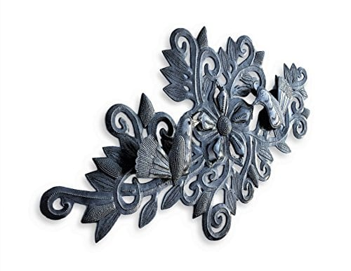 Decorative Floral Bouquet With Small Birds Gift For Her Spring Garden Wall Hanging Decorations Handmade In Haiti From Recycled Steel Barrels 95 In X 19 In 0 0