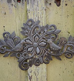 Decorative Floral Bouquet With Small Birds Gift For Her Spring Garden Wall Hanging Decorations Handmade In Haiti From Recycled Steel Barrels 95 In X 19 In 0 3 300x331