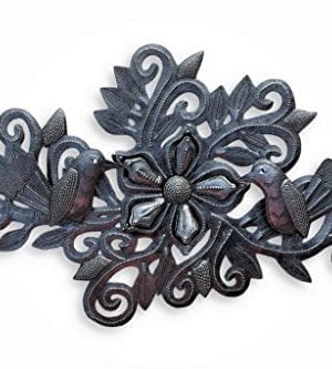Decorative Floral Bouquet With Small Birds Gift For Her Spring Garden Wall Hanging Decorations Handmade In Haiti From Recycled Steel Barrels 95 In X 19 In 0 300x333