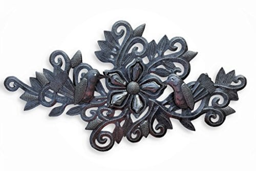 Decorative Floral Bouquet With Small Birds Gift For Her Spring Garden Wall Hanging Decorations Handmade In Haiti From Recycled Steel Barrels 95 In X 19 In 0