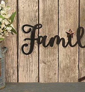 Decorative Metal Sign Family Wall Hanger 14x 55 Hanging Wall Art Country Home Dcor Rustic Plaque 0 0 300x323