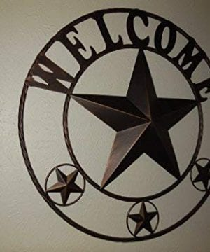 EBEI 315 Large Metal Barn Star Western Home Wall Decor Vintage Circle Dark Brown Texas Lone Star With Letters Welcome 0 3 300x360