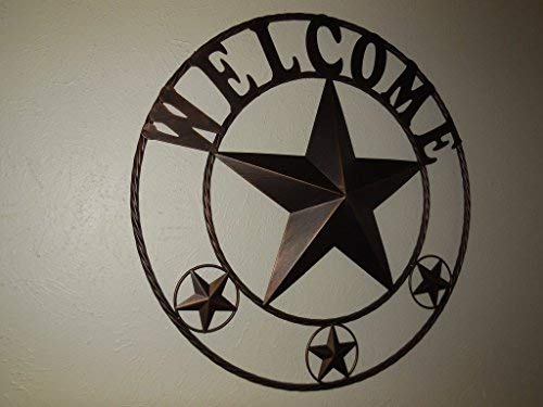 EBEI 315 Large Metal Barn Star Western Home Wall Decor Vintage Circle Dark Brown Texas Lone Star With Letters Welcome 0 3