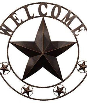 EBEI 315 Large Metal Barn Star Western Home Wall Decor Vintage Circle Dark Brown Texas Lone Star With Letters Welcome 0 300x360