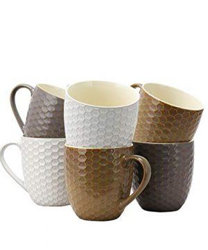 Elama Geometric Embossed Stoneware Honeycomb Pattern Coffee And Tea Mug Gift Set 6 Piece Assorted White Purple Taupe 0 0 300x360