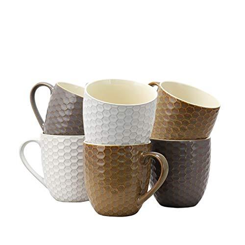 Elama Geometric Embossed Stoneware Honeycomb Pattern Coffee And Tea Mug Gift Set 6 Piece Assorted White Purple Taupe 0 0