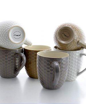 Elama Geometric Embossed Stoneware Honeycomb Pattern Coffee And Tea Mug Gift Set 6 Piece Assorted White Purple Taupe 0 1 300x360