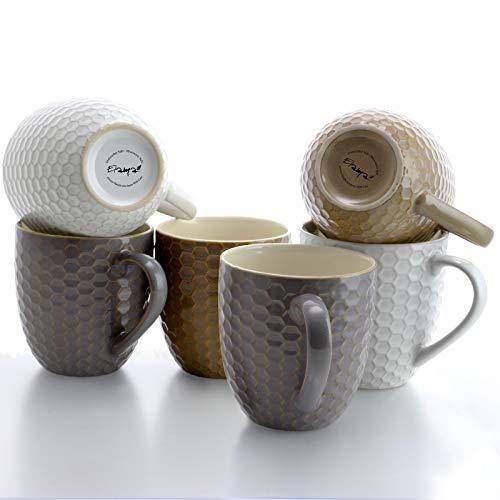 Elama Geometric Embossed Stoneware Honeycomb Pattern Coffee And Tea Mug Gift Set 6 Piece Assorted White Purple Taupe 0 1