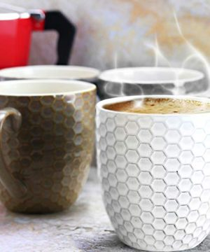 Elama Geometric Embossed Stoneware Honeycomb Pattern Coffee And Tea Mug Gift Set 6 Piece Assorted White Purple Taupe 0 2 300x360