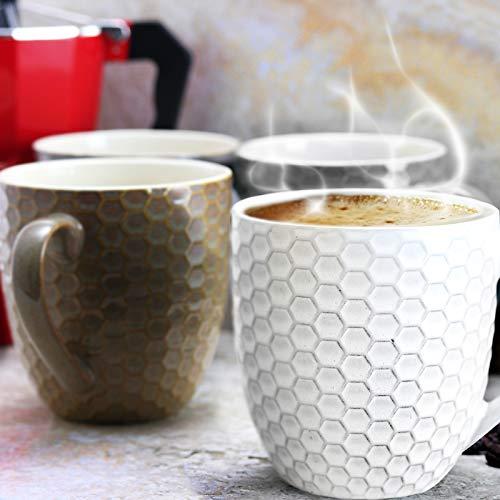 Elama Geometric Embossed Stoneware Honeycomb Pattern Coffee And Tea Mug Gift Set 6 Piece Assorted White Purple Taupe 0 2