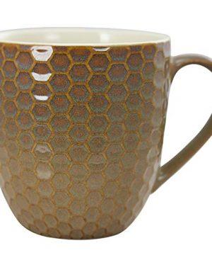 Elama Geometric Embossed Stoneware Honeycomb Pattern Coffee And Tea Mug Gift Set 6 Piece Assorted White Purple Taupe 0 3 300x360