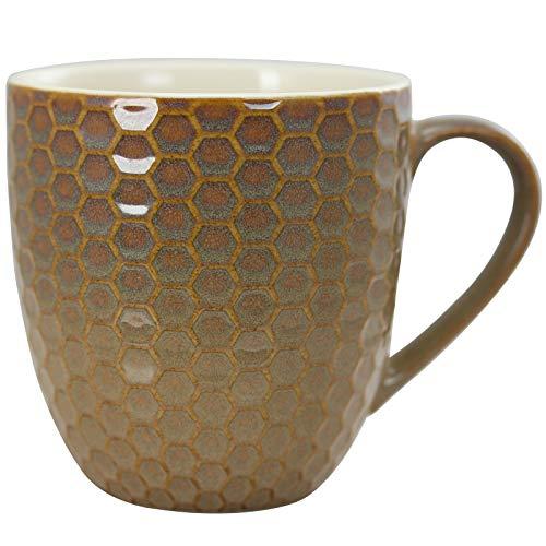 Elama Geometric Embossed Stoneware Honeycomb Pattern Coffee And Tea Mug Gift Set 6 Piece Assorted White Purple Taupe 0 3