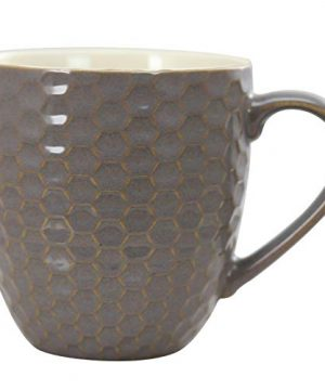 Elama Geometric Embossed Stoneware Honeycomb Pattern Coffee And Tea Mug Gift Set 6 Piece Assorted White Purple Taupe 0 4 300x360