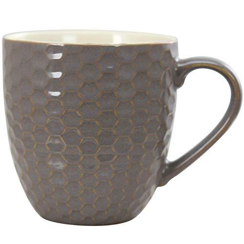 Elama Geometric Embossed Stoneware Honeycomb Pattern Coffee And Tea Mug Gift Set 6 Piece Assorted White Purple Taupe 0 4