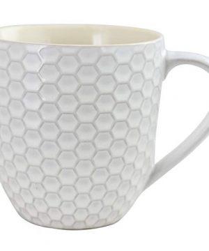 Elama Geometric Embossed Stoneware Honeycomb Pattern Coffee And Tea Mug Gift Set 6 Piece Assorted White Purple Taupe 0 5 300x360