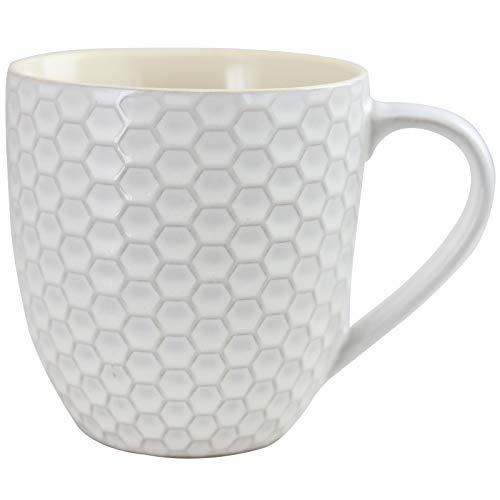 Elama Geometric Embossed Stoneware Honeycomb Pattern Coffee And Tea Mug Gift Set 6 Piece Assorted White Purple Taupe 0 5