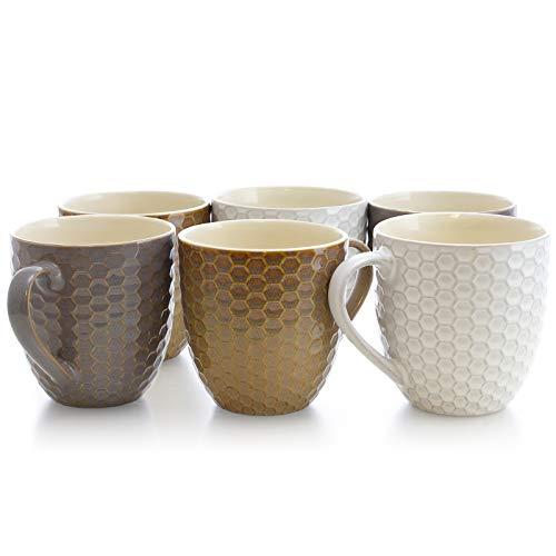 Elama Geometric Embossed Stoneware Honeycomb Pattern Coffee And Tea Mug Gift Set 6 Piece Assorted White Purple Taupe 0